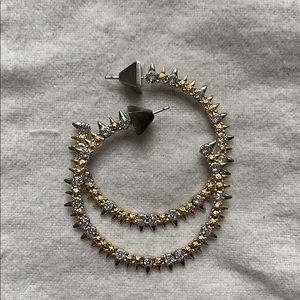 Alexis Bittar Gold and Silver Spiky Hoop Earrings
